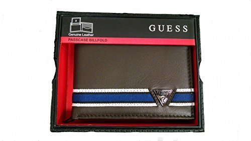 New Guess Men's Brown Leather Billfold Passcase Wallet
