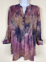 Cocomo Womens Size M Purple Zigzag Striped Blouse 3/4 Sleeve Stretch - $16.83