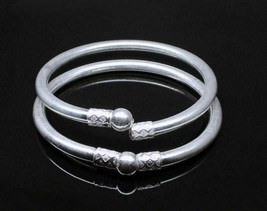Simple plain pipe Real Silver Bangles Bracelet - Pair 6.3 cm - $64.80