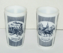Set of 2 Vintage Hazel Atlas Currier & Ives White Milk Glass Cups  - $19.78