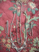 Vintage Two Necklaces Post Earrings Silver Tone Clear Rhinestone Sparkle... - $12.95