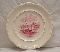 """Vintage Copeland Spode 10-5/8"""" Dinner Plate Maroon Boat Scene Rope Edge ... - $29.69"""