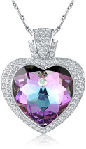 Citled Heart Necklace Swarovski Pendant Element Jewelry For Women Platin... - $89.86