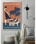 Walking Dogs Girl Who Loves Alaskan Malamutes, Art Prints Poster Home De... - $25.59+
