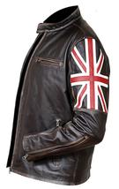 Cafe Racer Biker UK Flag Patch Distressed Brown Synthetic Leather Jacket image 2