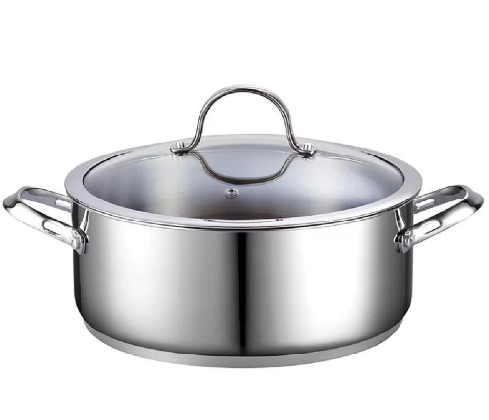 Stainless steel dutch oven lid on
