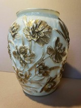 Large Consolidated glass Vase Poppy pattern, Gold highlighting on gloss ... - $69.95