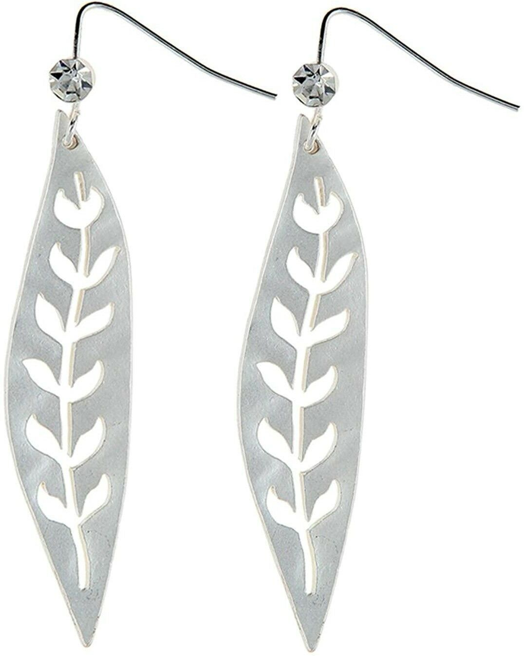 Primary image for RAIN 'Leaf' Cubic Zirconia Silver-Tone Fish Hook Dangle Earrings