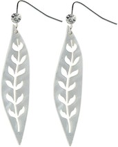 RAIN 'Leaf' Cubic Zirconia Silver-Tone Fish Hook Dangle Earrings - $57.91