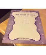 Vintage Sheet Music One Night Of Love 1934 - $3.99