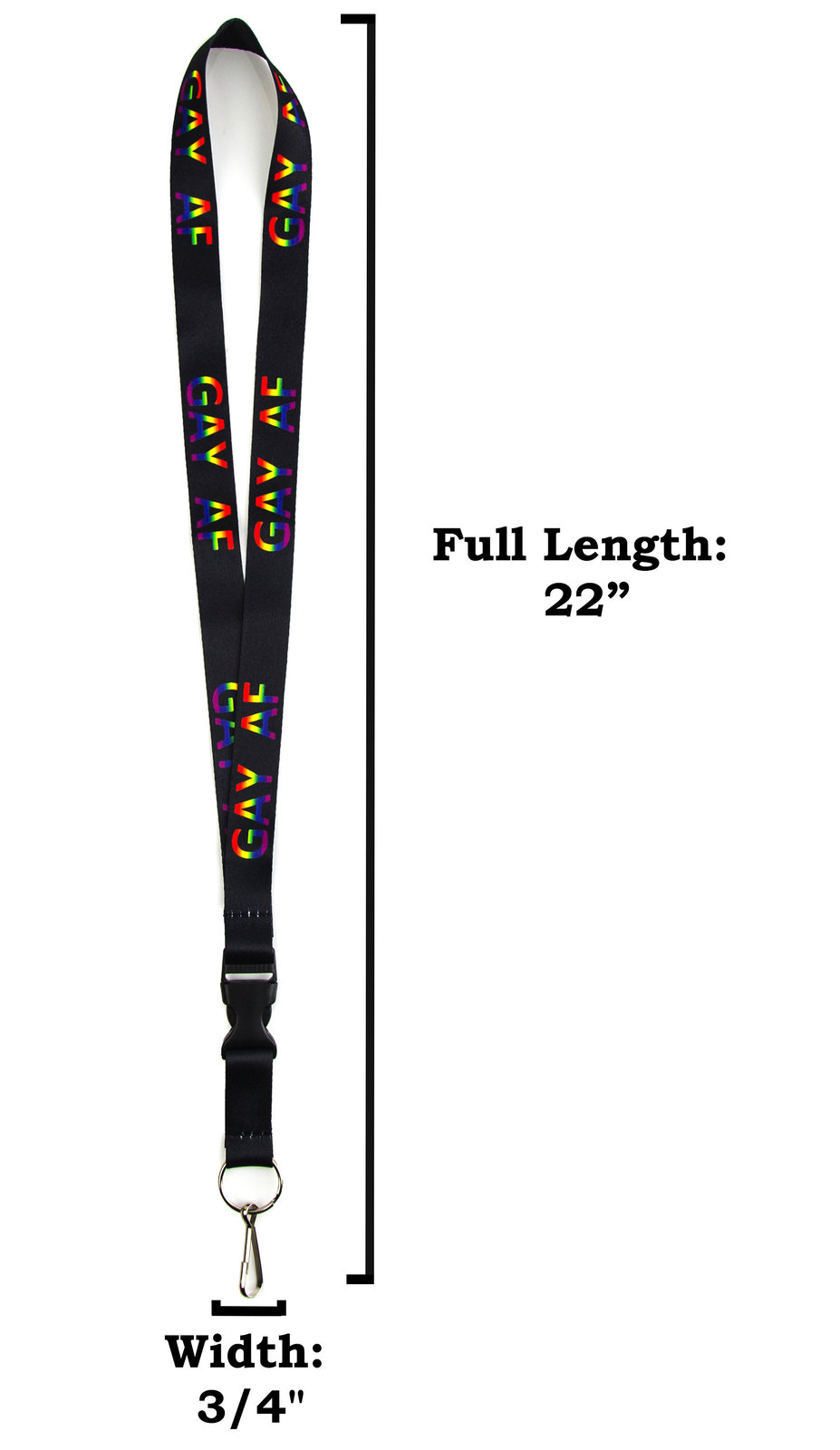 Gay AF Rainbow Printed Lanyard Keychain and ID Holder with Detachable, Breakaway