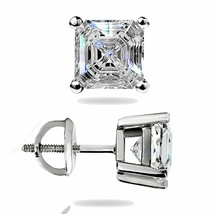 1.46 Ct Asscher Cut Solitaire Lab Stud Earrings 14K White Gold ScrewBack... - $61.80