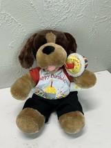 Build a Bear Brown Dog Plush Happy Birthday Shirt BAB cupcake - $18.65