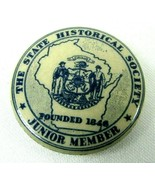 1930s Celluloid Pinback Button State Historical Society Junior Member Wi... - $23.71