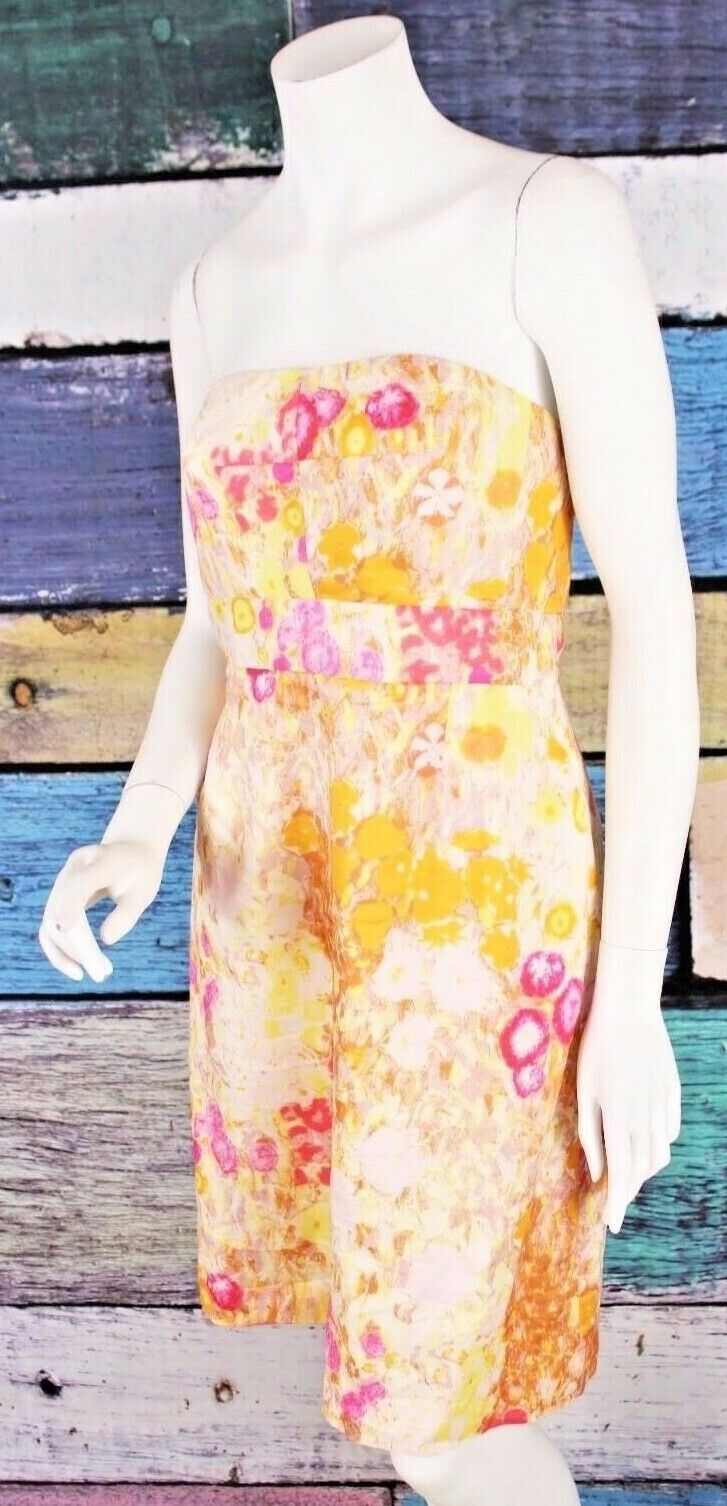 Primary image for J.Crew 10 Mustard Yellow Pink Floral Watercolor Strapless Cotton Sheath Dress