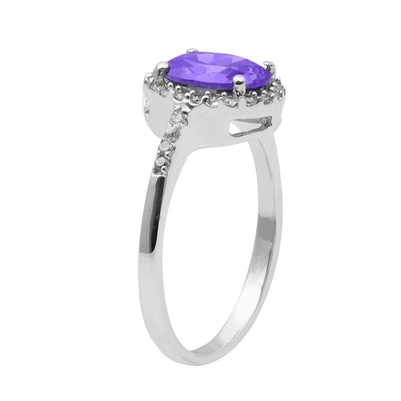 Tanzanite Color Cz & White Topaz 925 Sterling Silver Ring Jewelry Sz-7 SHRI1478