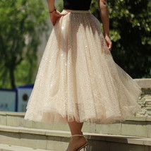 Sequined Tulle Midi Skirt Outfit Navy Gold Sparkly Midi Bridesmaid Skirt Custom image 10