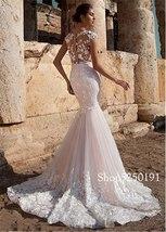 Sexy Lace Scoop Neckline 3D Lace Applique See-through Bodice Mermaid Bridal Dres image 2