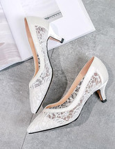 8cm Lace High Heels Leather Shoes,Shoe lace styles,White Lace Up Bridal ... - £56.30 GBP