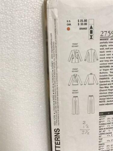 Vogue American Designer Anne Klein Jacket Top Pants Sewing Pattern 12,14,16 2759