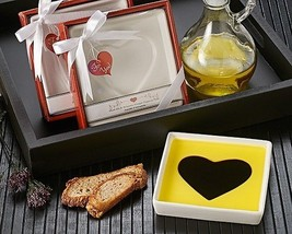 24 White Porcelain Heart Olive Oil Vinegar Dipping Plate Bridal Wedding ... - $113.95