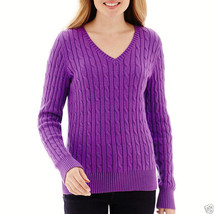 St. John's Bay Long-Sleeve Cable V-Neck Sweater Plus Size 3X Pharoah Pur... - $19.99
