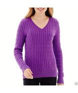 St. John's Bay Long-Sleeve Cable V-Neck Sweater Plus Size 3X Pharoah Pur... - $19.99