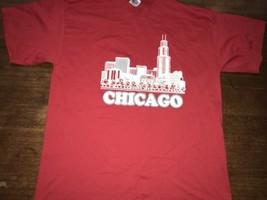 Chicago City Tourist T-shirt 80-90's Red Skyline Lake Michigan XL  NWOT New - $18.99