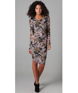 Elizabeth And James Gosling Printed Mesh Dress L Large Ruched Bodycon - $29.69