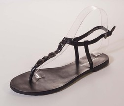 Via Spiga Womens Black Leather Ankle Strap T Thong Gladiator Sandals Sho... - $39.99