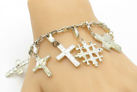 925 Sterling Silver - Vintage Shiny Religious Cross Charm Chain Bracelet... - $115.10