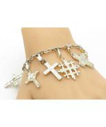925 Sterling Silver - Vintage Shiny Religious Cross Charm Chain Bracelet... - $115.10