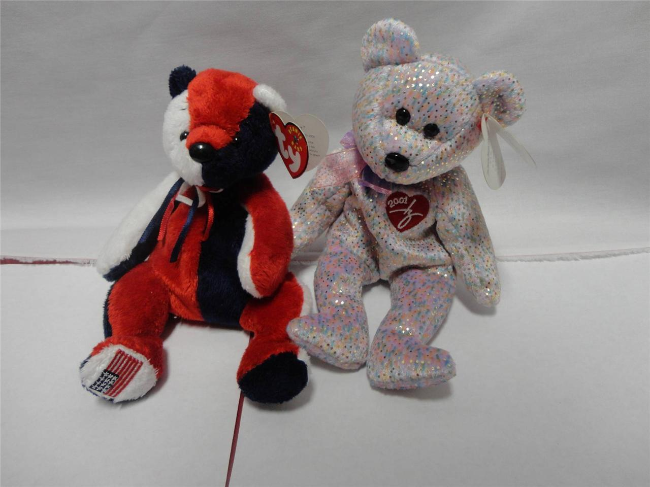 TY Beanie Babies Bears 2001 Signature Bear and Patriot Bear 2000 Lot of 2