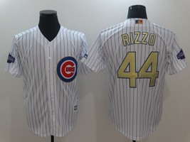 44 Anthony Rizzo Men's 2017 Chicago Cubs Champions Gold Program Jerseys ... - $40.00