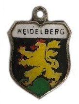 Vintage Silver Charm Heidelberg Germany German Enamel Travel Flag Shield - $21.37