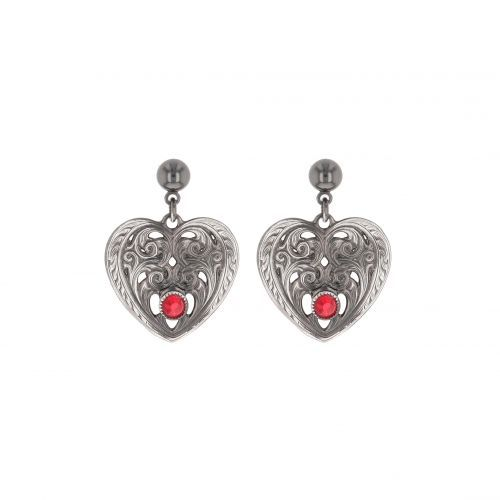 Montana Silversmith Antiqued Silver Heart Filigree Earrings with Red Stone