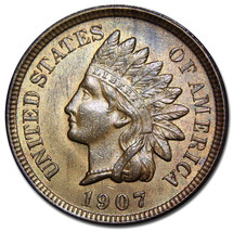 1907 Indian Head Penny / Cent Coin Lot# A 1490