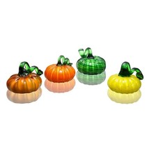 Set of 4 Small Art Glass Carnival Pumpkins, Halloween Fall Decor,4''x 4''H. - £54.14 GBP