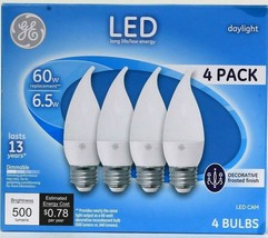 1 Pack GE LED CAM Daylight 6.5w Decorative Frosted Finish 500 Lumens 4 Ct Bulbs - $17.89