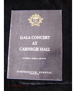 Gala Concert At Carnegie Hall Program March 3, 1979 15th Anniversary - $16.99