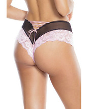 SCALLOPED STRETCH LACE & FISHNET BOOTY SHORT - $15.83