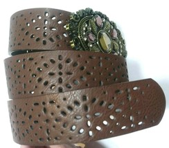 Belt Women's Jewel and Brass Tone Leaf Buckle Faux Leather Perforated Pa... - $4.95