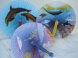 Fish whales Dolphins Sharks 3 PC Oriental Folding Traveling Hand FAN Set... - $6.50