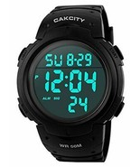 Mens Digital Sports Watch LED Screen Large Face Military Watches for (Bl... - $17.53