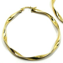 18K YELLOW GOLD CIRCLE HOOPS PENDANT EARRINGS, 4.7 cm x 4 mm BRAIDED, TWISTED image 2
