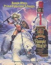 Amazon Warrior Riding Polar Bear 1990 Rumple Minze Distillery Liquor Ad image 1