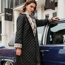 Elegant English Vintage Plaid  Quilted Reversible Full Length Winter Trench Coat