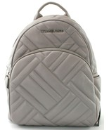 Michael Kors Abbey Backpack Bag Ash Grey Quilted Leather Size Medium RRP... - $395.65