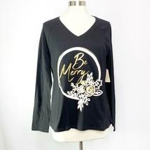 St. John's Bay Womens Sz L Large Black Gold Be Merry Christmas Holiday T-Shirt - $11.54