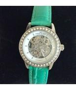 Lady ANNE KLEIN Silver AUTOMATIC Skeleton Watch Swarovski Crystal Turquoise - $53.45